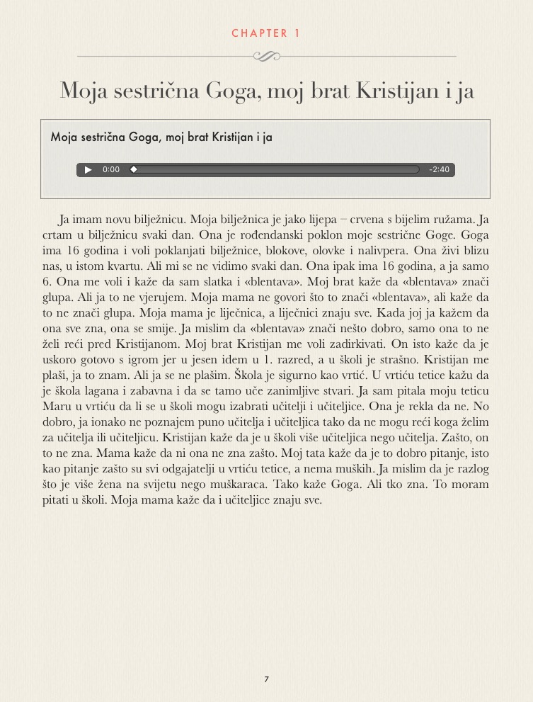 Sample: Ana Bilic: Next to Me / Kraj mene, Interactive E-Book w. Audio